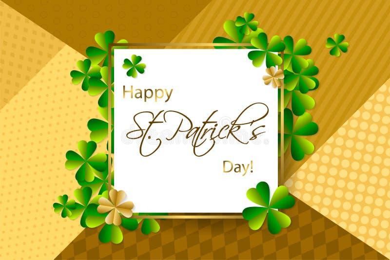 Fundo feliz do dia do ` s de St Patrick, cartão com verde a ilustração stock
