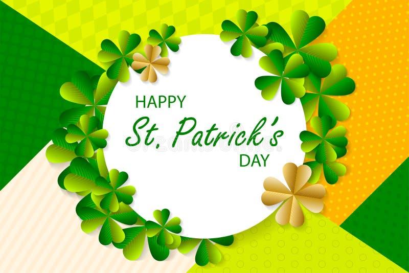 Fundo feliz do dia do ` s de St Patrick, cartão com verde a ilustração royalty free