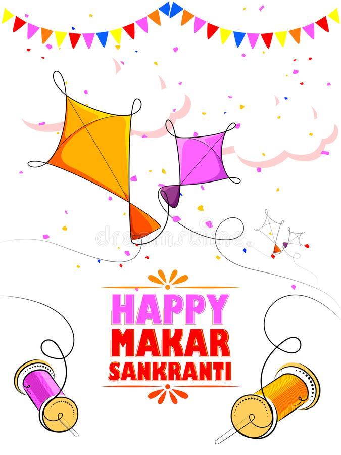 Fundo feliz do festival da Índia do feriado de Makar Sankranti ilustração royalty free