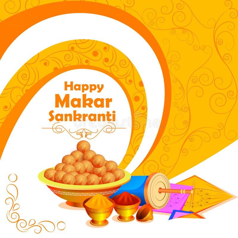 Fundo feliz do festival da Índia do feriado de Makar Sankranti ilustração do vetor