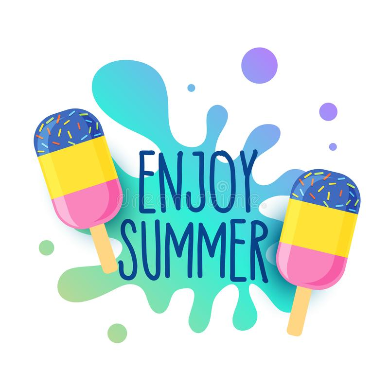 Fundo feliz do gelado do verão com respingo da água ilustração stock