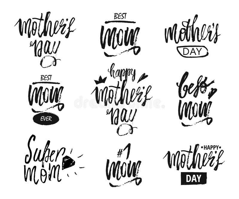 Fundo feliz do projeto do dia da mãe s Projeto de rotulação ano novo feliz 2007 Molde do fundo da caligrafia para o dia da mãe s ilustração royalty free