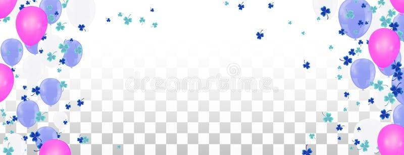 Fundo feliz do quadro do feriado com balão, os presentes, confetes, o tampão do carnaval e a flâmula coloridos Configura??o lisa  ilustração royalty free