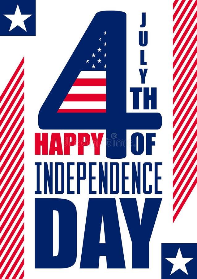 Fundo feliz do vertical do Dia da Independência 4 de julho quarto Vetor - memorial Bandeira Patriótico comemore ilustração stock