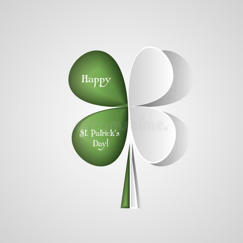 Fundo feliz do vetor do dia de St Patrick s com trevo Símbolo afortunado da mola Estilo na moda do corte do papel Entalhe do pape ilustração stock
