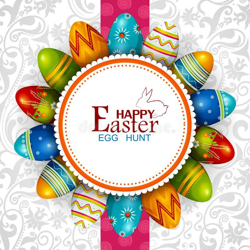 Fundo feliz pintado colorido do cumprimento da Páscoa do ovo ilustração do vetor