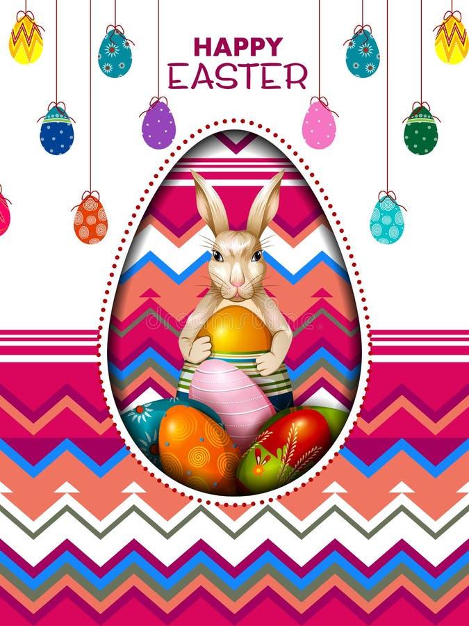 Fundo feliz pintado colorido do cumprimento da Páscoa do ovo ilustração stock