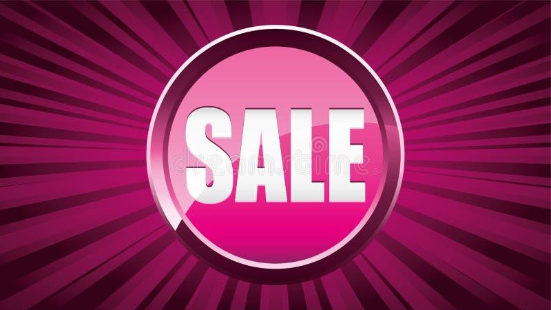 Fundo feminino cor-de-rosa do anúncio da venda com o botão lustroso da venda ilustração royalty free