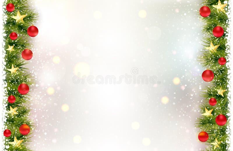 Fundo festivo com beira do abeto, quinquilharias vermelhas do Natal ilustração royalty free