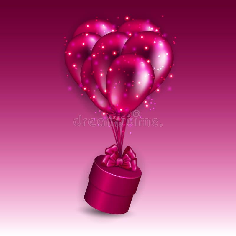 Fundo festivo com caixa de presente, balões ilustração royalty free