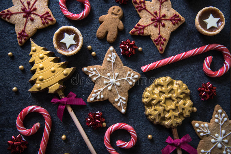 Fundo festivo do alimento dos doces do Natal imagem de stock