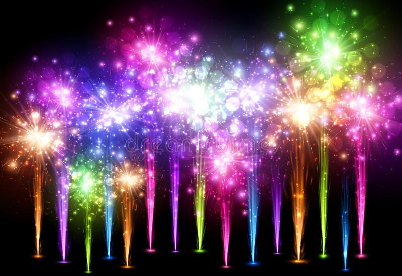 Fundo festivo do fogo de artifício da cor ilustração royalty free