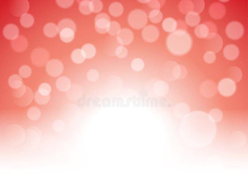 Fundo festivo do sumário vermelho do bokeh Decoração brilhante da mágica do feriado do brilho vermelho da luz de Natal ilustração do vetor