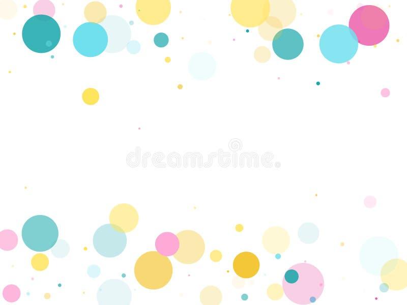 Fundo festivo dos confetes redondos de Memphis em azul, cor-de-rosa ciano e amarelo Vetor criançola do teste padrão ilustração stock