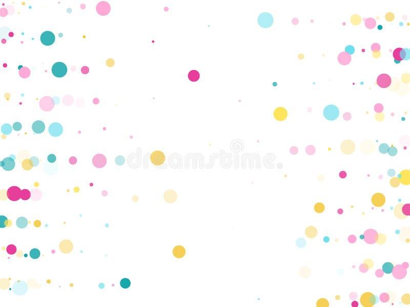 Fundo festivo dos confetes redondos de Memphis em azul, cor-de-rosa ciano e amarelo Vetor crian?ola do teste padr?o ilustração stock