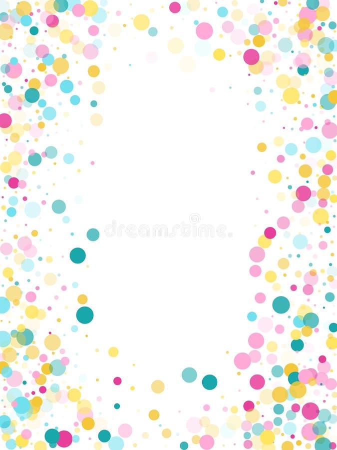 Fundo festivo dos confetes redondos de Memphis em azul, cor-de-rosa ciano e amarelo Vetor crian?ola do teste padr?o ilustração royalty free