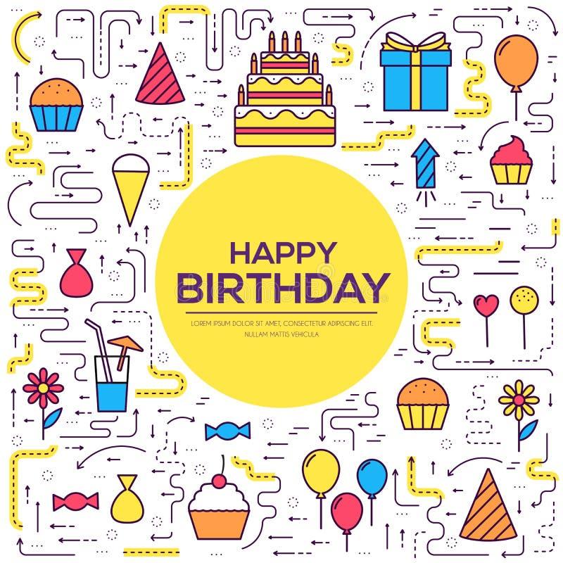 Fundo festivo liso do feliz aniversario com os ícones dos confetes ajustados Os balões dos elementos do partido e da celebração,  ilustração royalty free