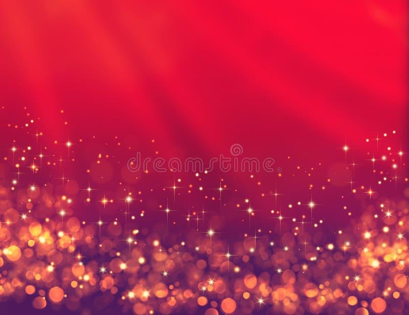 Fundo festivo vermelho elegante com brilho dourado e estrelas ilustração do vetor