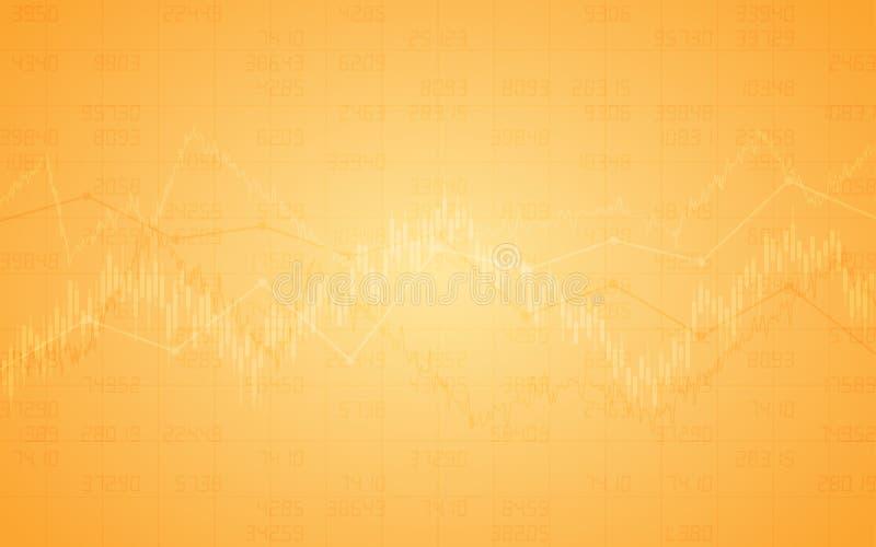 Fundo financeiro abstrato com gráfico linear e carta de barra do mercado de valores de ação na cor da laranja do inclinação ilustração do vetor