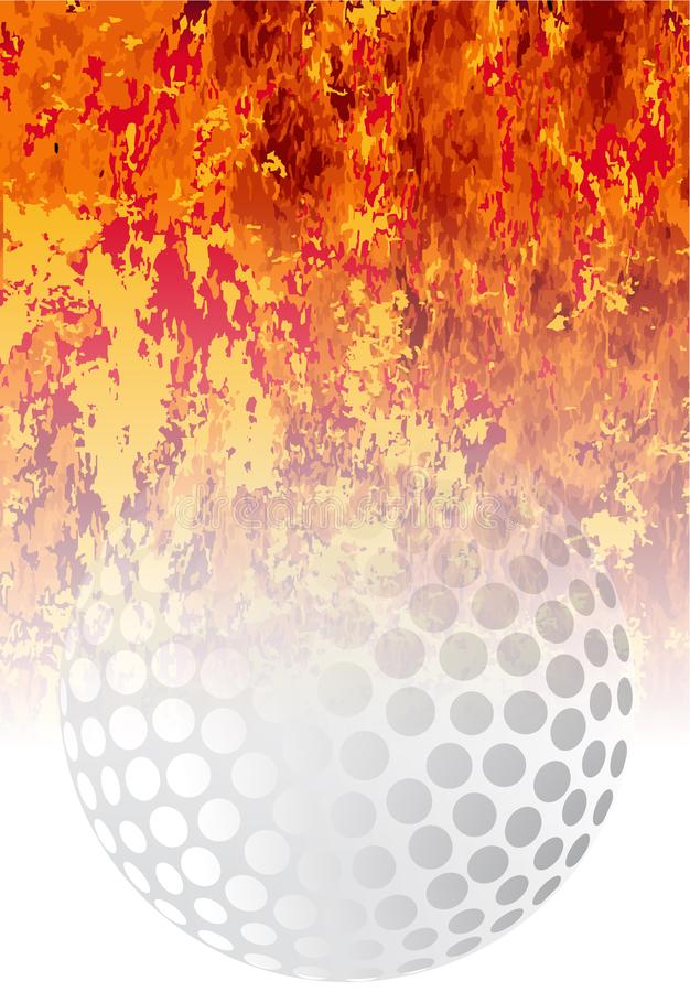 Fundo flamejante do esporte da bola de golfe rujir ilustração do vetor