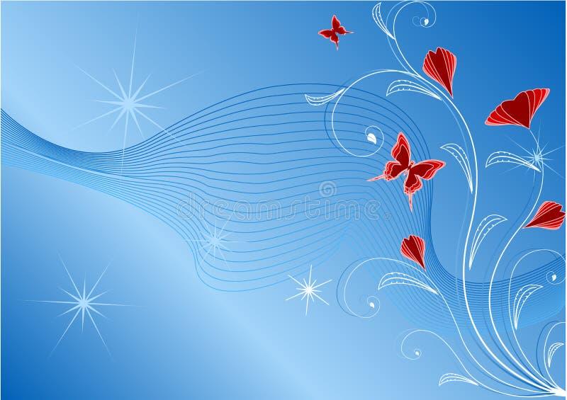 Fundo floral abstrato azul ilustração do vetor
