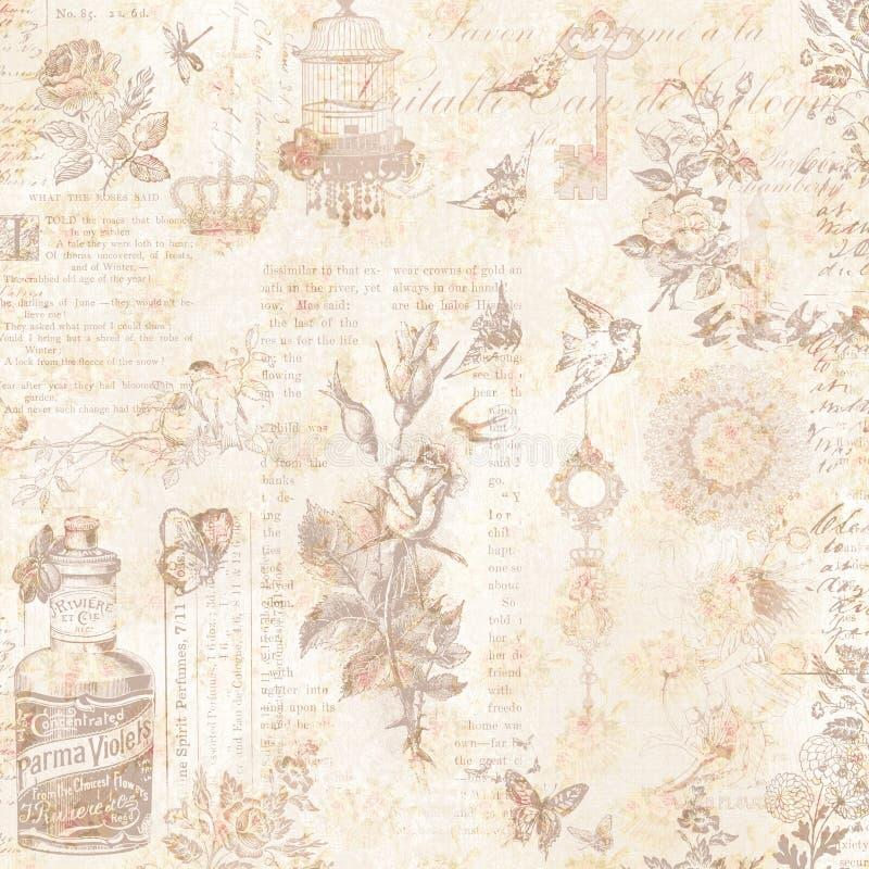 Fundo floral abstrato chique gasto desvanecido sujo marrom e cor-de-rosa do vintage da colagem ilustração royalty free