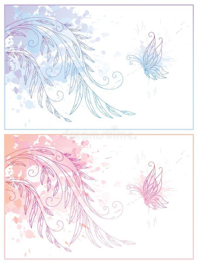Fundo floral abstrato com borboleta ilustração royalty free