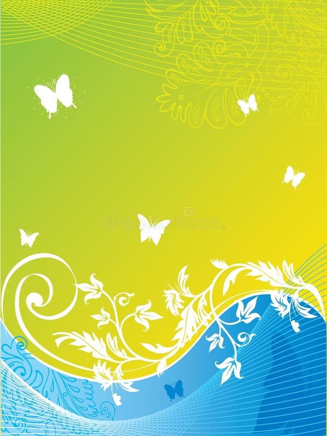 Fundo floral abstrato com borboleta ilustração do vetor