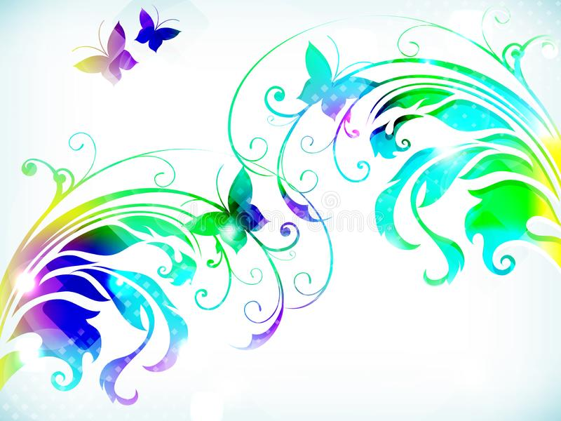 Fundo floral abstrato com o butterfli colorido de papel das flores ilustração stock