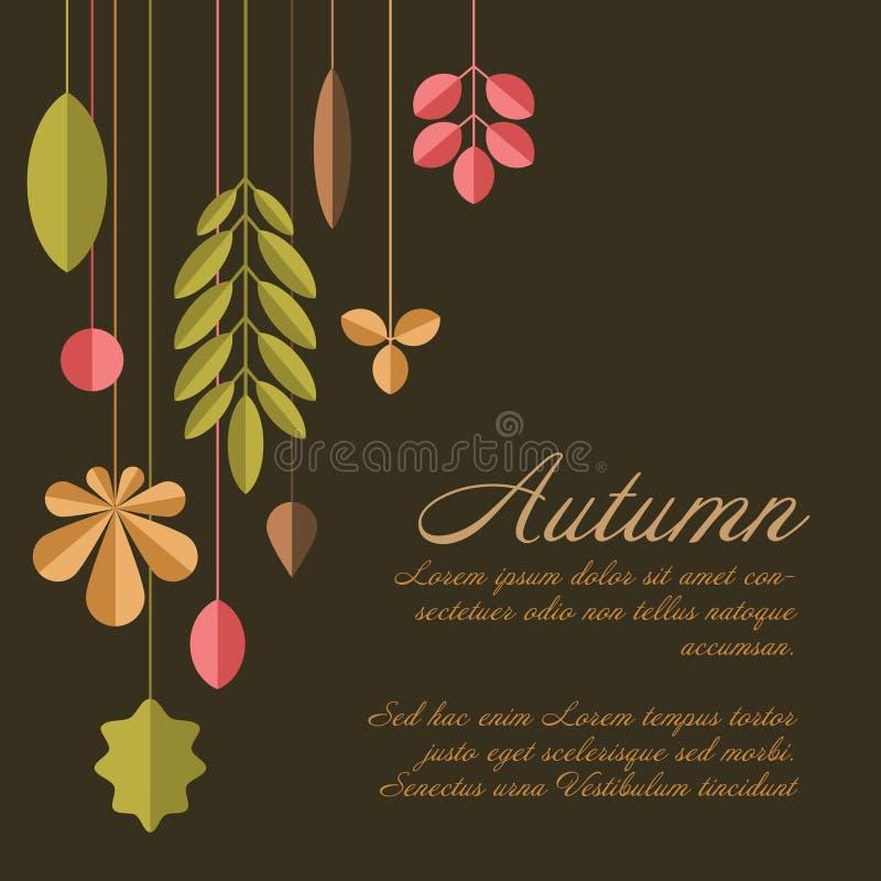 Fundo floral abstrato de outono com folhas ilustração do vetor