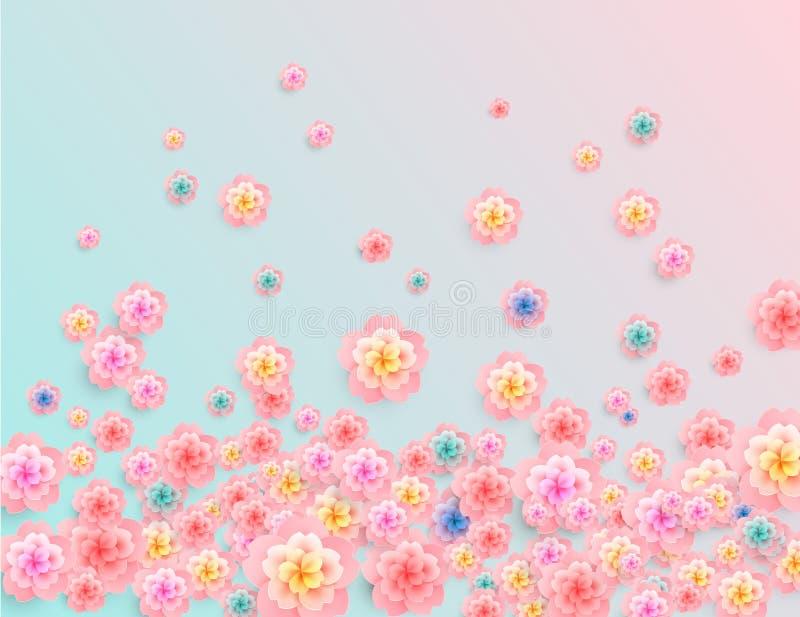 Fundo floral abstrato do vetor - cores frescas da manhã da mola ilustração stock