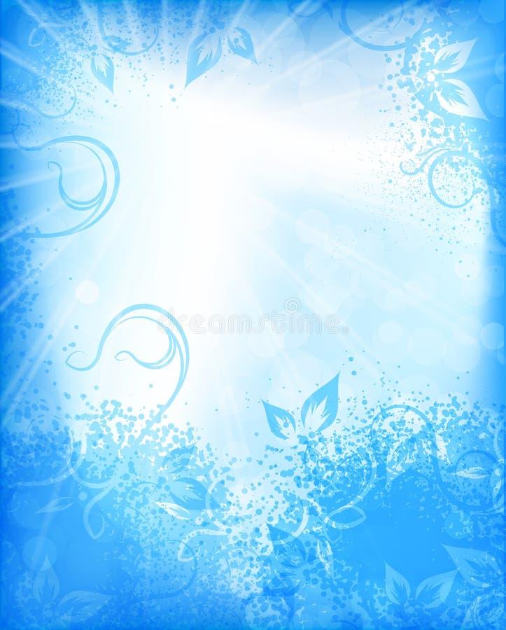 Fundo floral abstrato em tons azuis ilustração royalty free