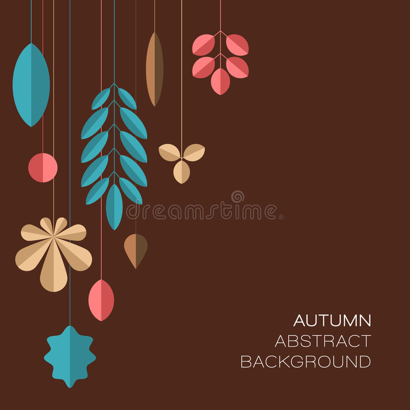 Fundo floral abstrato escuro do outono com folhas ilustração do vetor