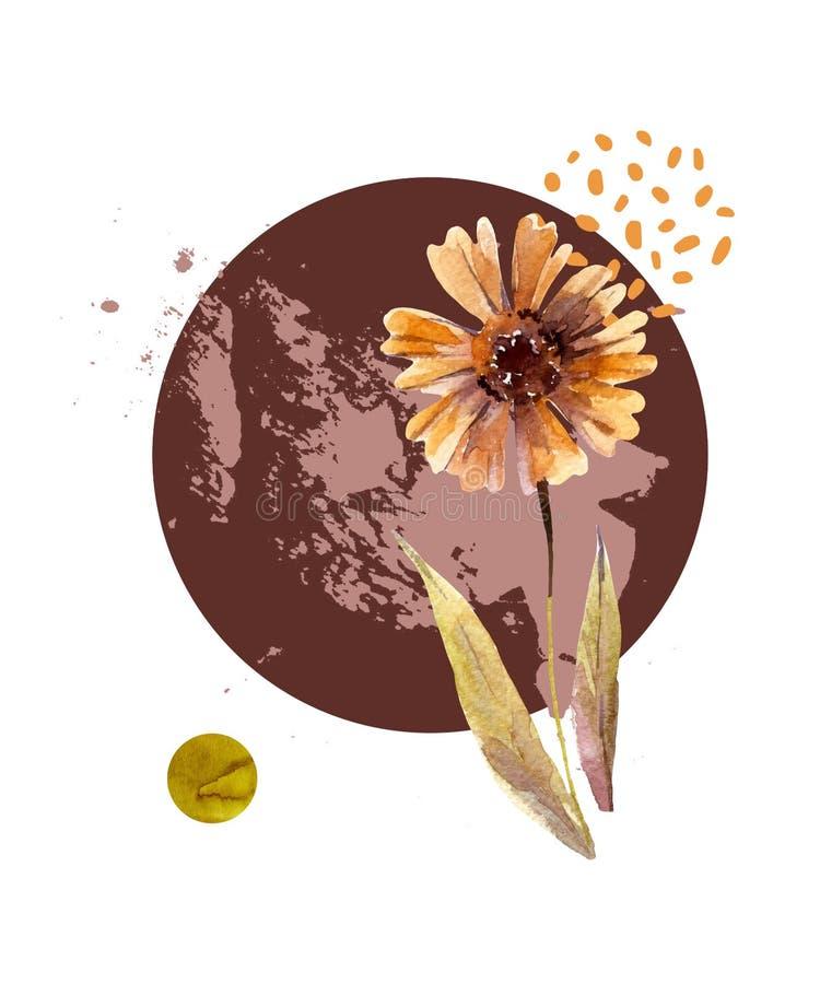 Fundo floral abstrato: flores da queda da aquarela e folhas, elementos mínimos, geométricos, pincelada do grunge no estilo modern ilustração do vetor