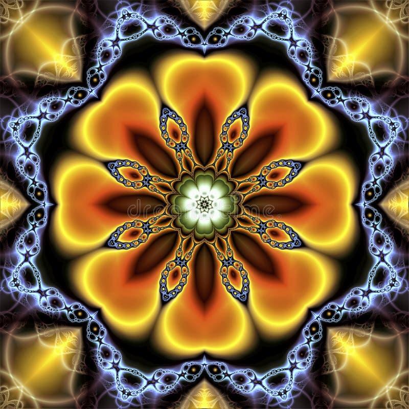 Fundo floral abstrato que consiste em uma flor e em correntes do fractal ilustração royalty free
