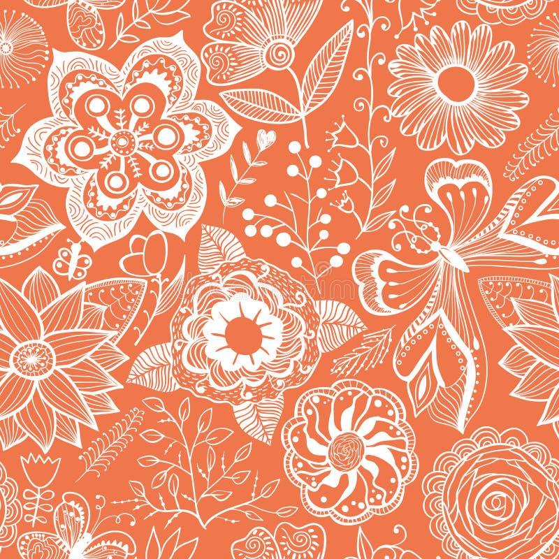Fundo floral abstrato, teste padrão sem emenda do tema do verão, vecto ilustração stock