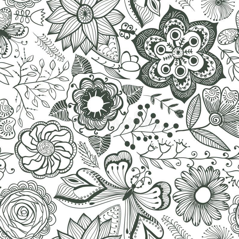 Fundo floral abstrato, teste padrão sem emenda do tema do verão, vecto ilustração do vetor