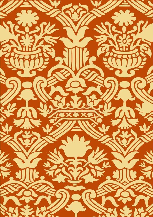 Fundo floral abstrato vermelho e bege do vintage do teste padrão ilustração stock