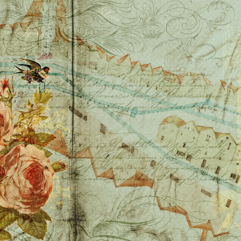 Fundo floral antigo sujo azul ilustração royalty free