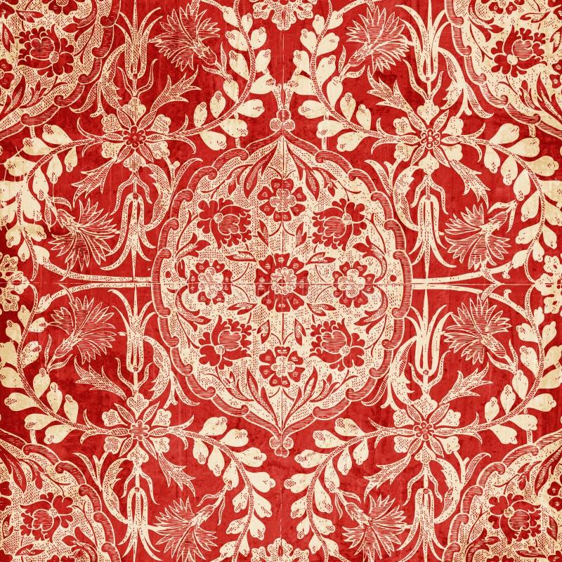 Fundo floral antigo vermelho do damasco ilustração do vetor