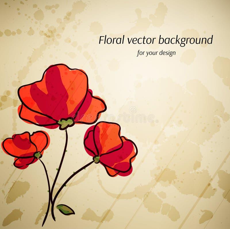 Fundo floral artístico do vetor para seu projeto. ilustração royalty free