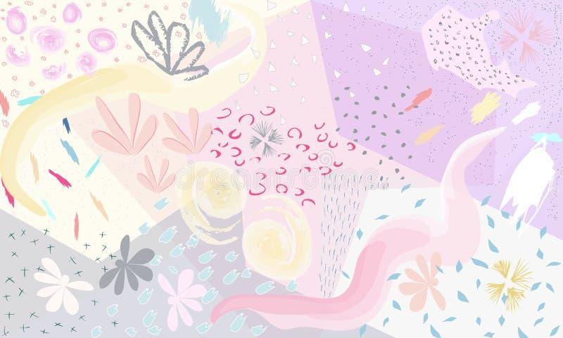Fundo floral artístico universal criativo Texturas tiradas mão Projeto gráfico na moda para a bandeira, cartaz, cartão ilustração royalty free