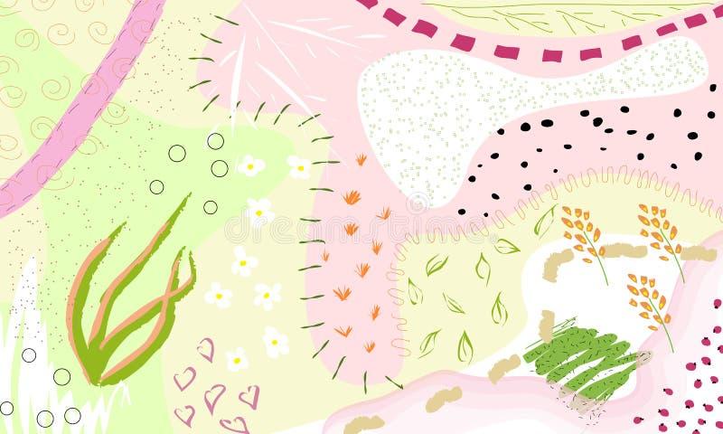 Fundo floral artístico universal criativo Texturas tiradas mão Projeto gráfico na moda para a bandeira, cartaz, cartão ilustração stock
