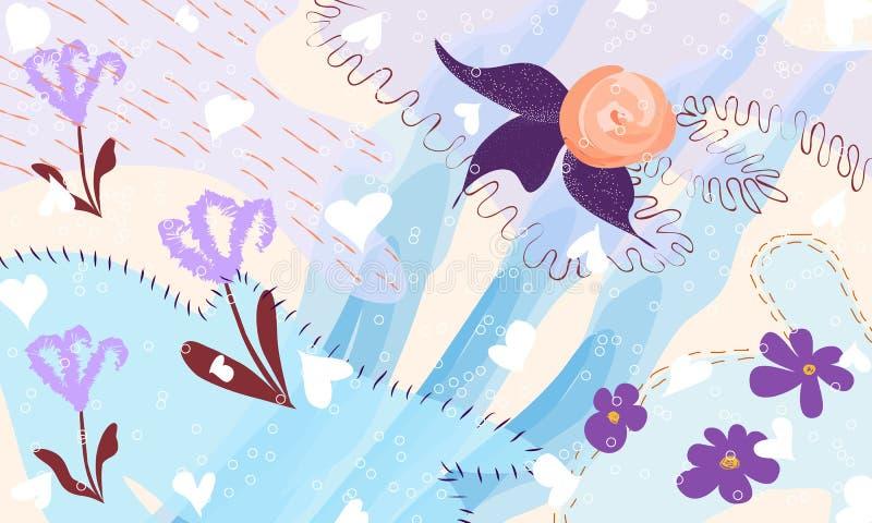 Fundo floral artístico universal criativo Texturas tiradas mão Projeto gráfico na moda para a bandeira, cartaz, cartão, tampa, ilustração royalty free
