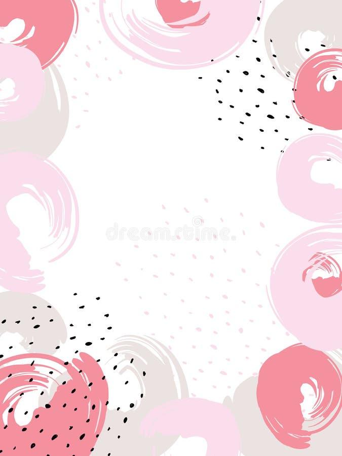 Fundo floral artístico universal do quadro criativo Texturas tiradas mão Projeto gráfico na moda para a bandeira, cartaz, cartão, ilustração stock