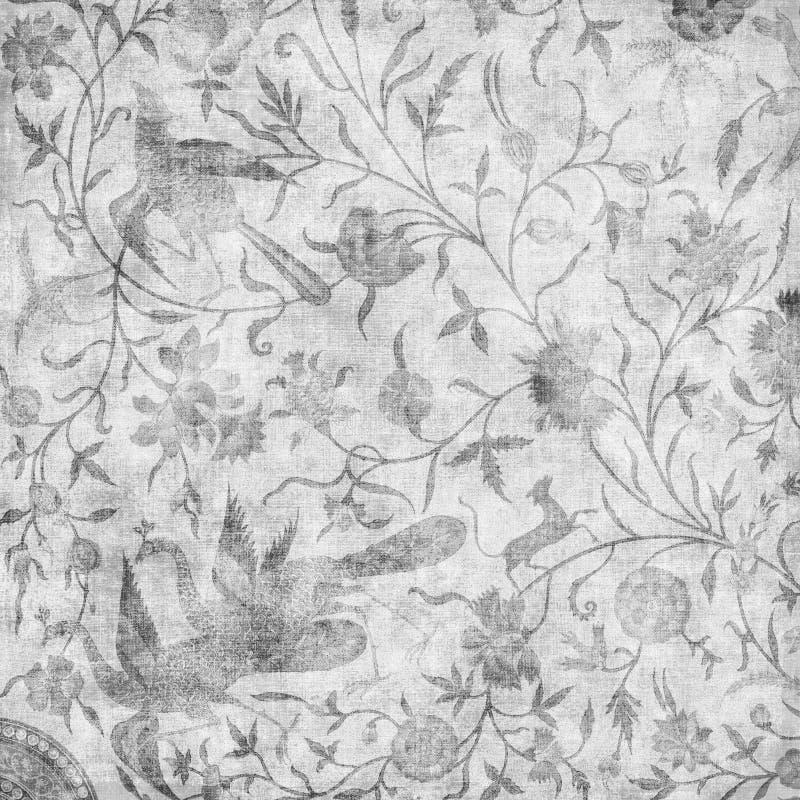 Fundo floral asiático do projeto do Batik de Artisti ilustração do vetor