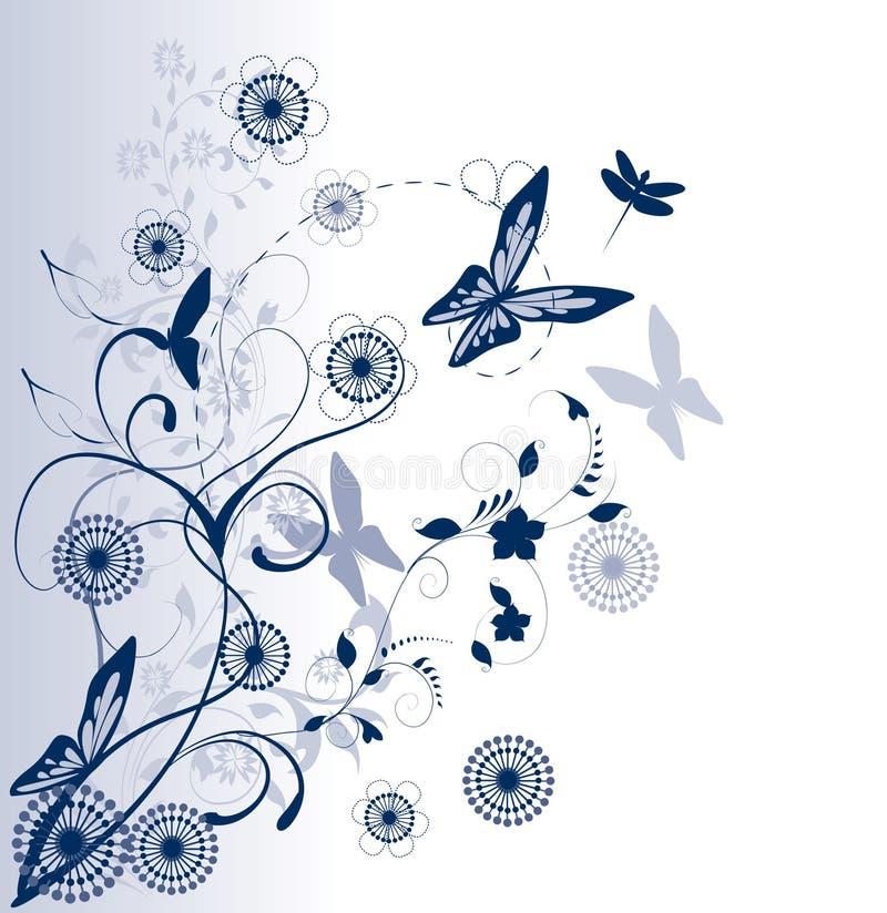 Fundo floral azul ilustração royalty free