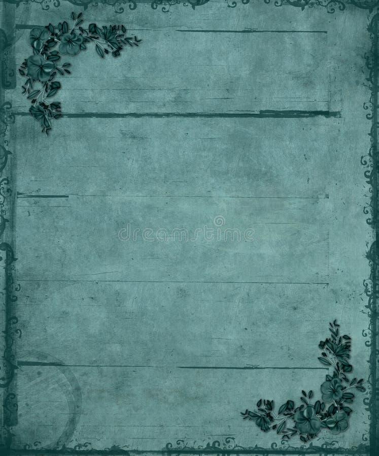 Fundo floral azul de Grunge dos cantos ilustração do vetor