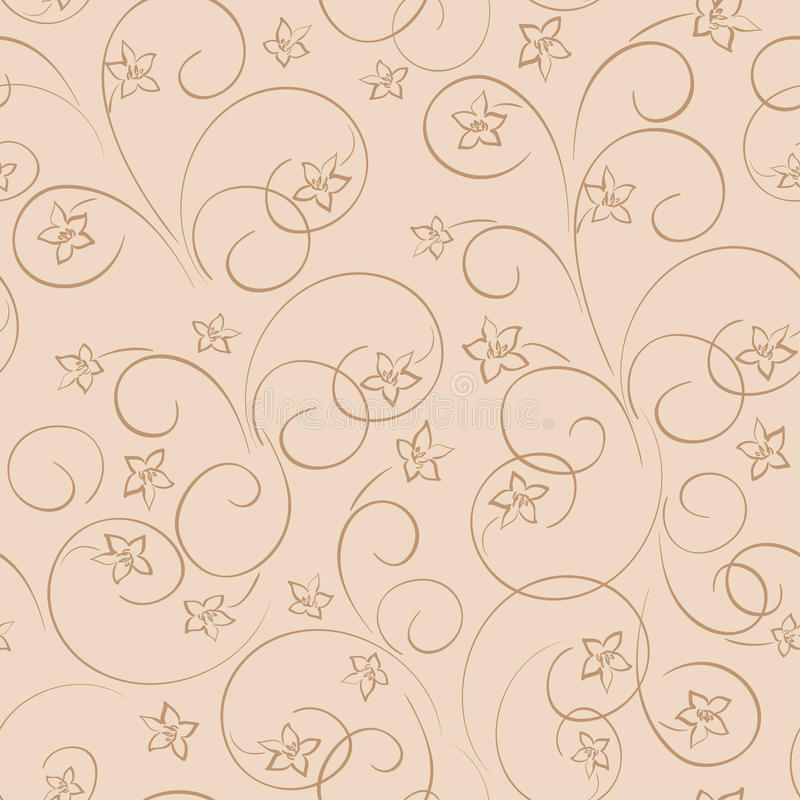 Fundo floral bege claro - teste padrão sem emenda com flo ilustração royalty free