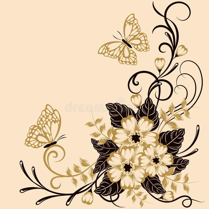 Fundo floral bonito com as borboletas em cores pretas e amarelas com lugar para seu texto ilustração royalty free